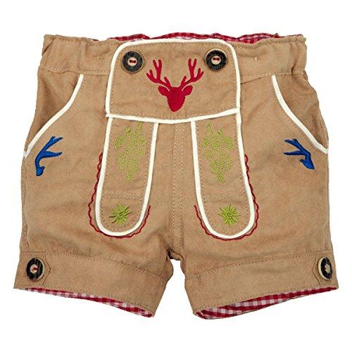 BONDI Lederhosen Short ´Gipfelkraxler´ Beige Gr. 98 - Fesche kurze Trachten Hose aus Kunstleder vom Markenhersteller BONDI Kidswear für Jungen
