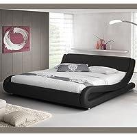 Muebles Bonitos - Cama de matrimonio Alessia 180 x 200 cm negro