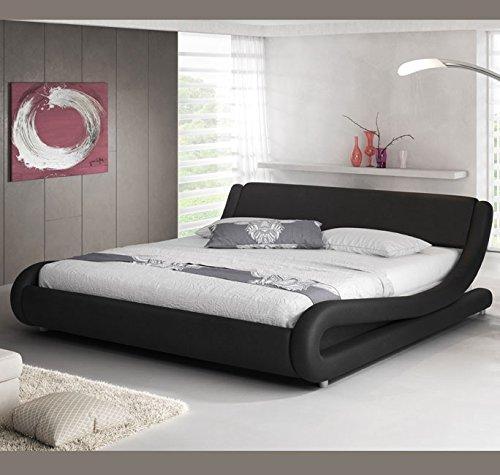 Muebles Bonitos – Alessia Polsterbett in Lederoptik in schwarz 140x190