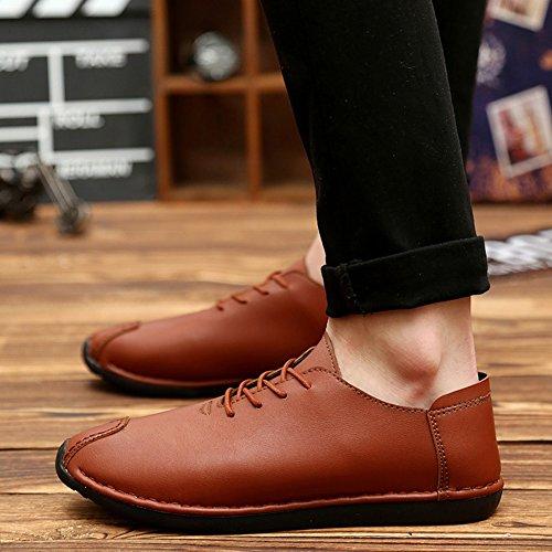 XUEQIN Scarpe da cuoio in pelle morbida morbida in nero marrone ( Colore : Rosso , dimensioni : EU41/UK7.5-8/CN42 ) Marrone