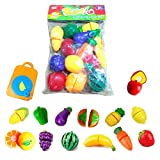 #5: Happy GiftMart 15 Pcs Fruit and Vegetables Cutting Play Toy Chopping Cutter Set Realistic Sliceable with Velcro