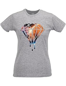 LaMAGLIERIA Camiseta Mujer Slim Drippin Diamond Space Texture - T-Shirt Cool Fashion 100% Algodòn Ring Spun