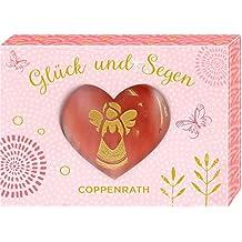 Edelstein mit Gravur - Glück und Segen - Schutzengel: Handschmeichler in Herzform (Kirschquarz)