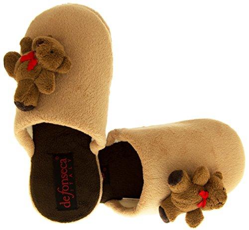Da donna Mule pantofole Beige (Teddy Bear)