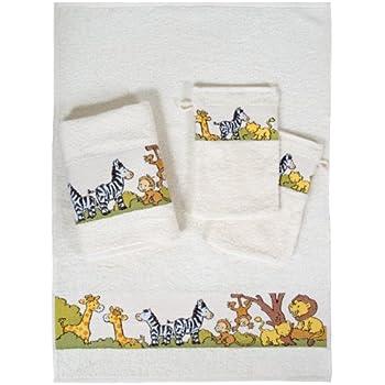 Dyckhoff Kinder Frottierserie Handtuch Waschhandschuh mit lustigen Motiven