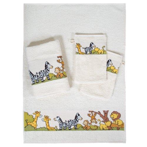 Dyckhoff 1451213200 Zoo 2-Kinderhandtücher 50 x 70 cm und 2 Waschhandschuhe 16/21 cm, 200-natur