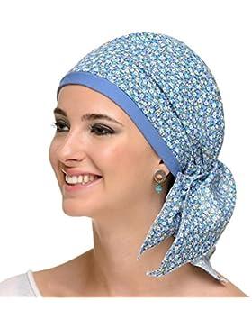 Pañuelo oncologico Paris Azul para mujeres con alopecia, quimioterapia, cancer