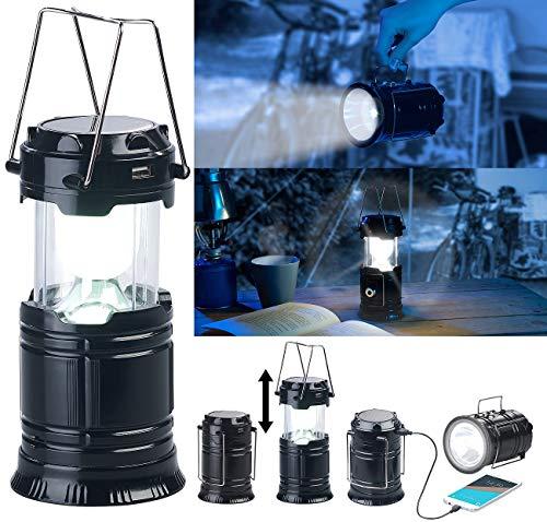Semptec Urban Survival Technology Campinglampe Solar: 3in1-Solar-LED-Camping-Laterne, Handlampe & USB-Notlader, 80 Lumen (Solar Powerbank)