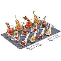 Andrew James Servierplatte aus Naturschiefer mit Metallgriffen | 17-Teiliges-Set mit 4x Mini-Dessertgläser 4x Glasschalen 4x Porzellanlöffel und 4x Edelstahl Löffel | Geeignet für Desserts Kanapees Tapas und Aperitifs