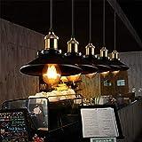 Vintage Kronleuchter Deckenleuchte Industrie Retro Loft Moderne Antike Kupferlampe Kopf Matt Schwarz Lackierung Schmiedeeisen Kleiner Anhänger Beleuchtung E27 Leuchte Durchmesser 8,8 Zoll (1 Packung)