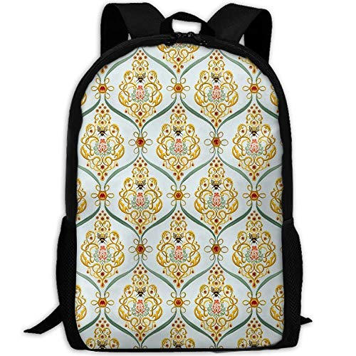 HOJJP Schultasche Honey Bee Damask Laptop Backpack, Great for High School,College Backpack, School Bag,Business Backpack, Travel Pack,Laptop Sleeve,Perfect for Men and Women
