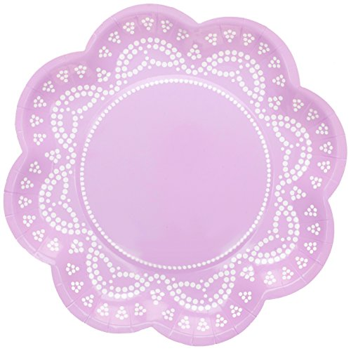 """10 Blumen-Förmige Papp-Teller mit Weißem Spitzen-Perlen-Muster in Flieder-Lila """"White Lace"""""""