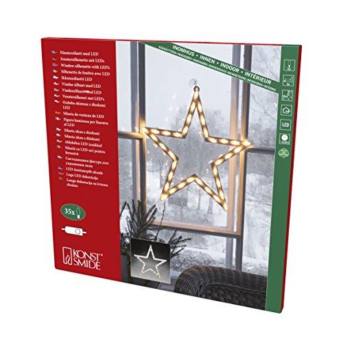 "Konstsmide, 2164-010, LED Fenstersilhouette, ""Stern"", 35 warm weiße Dioden , 230V, Innen, weißes Kabel"