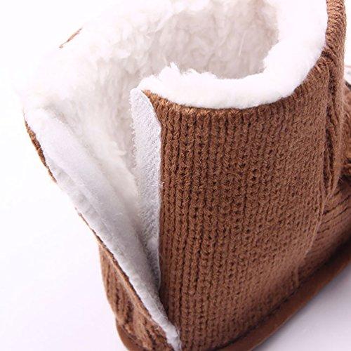 LvRao Säugling Warme Lauflernschuhe Neugeborene Stiefel Winter Baby Gestrickte Schuhe Krabbelschuhe Braun