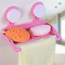 Home Cube Bathroom Plastic Wall Mounted Suction Cup Storage Rack For Shower Soap Towel Organizer Kitchen Sponge Brush Sink Drain Holder
