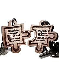 Schlüsselanhänger Puzzle aus Holz - Mutter und Tochter