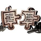 schenkYOU® Schlüsselanhänger Puzzle aus Holz - Mutter und Tochter