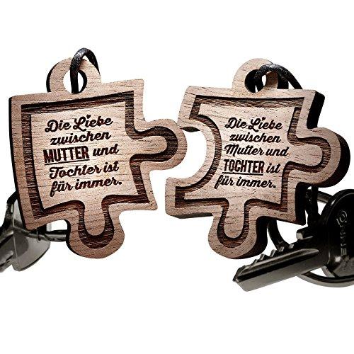 schenkYOU® Schlüsselanhänger Puzzle aus Holz - Mutter und Tochter (Mamas Geburtstag Schmuck)