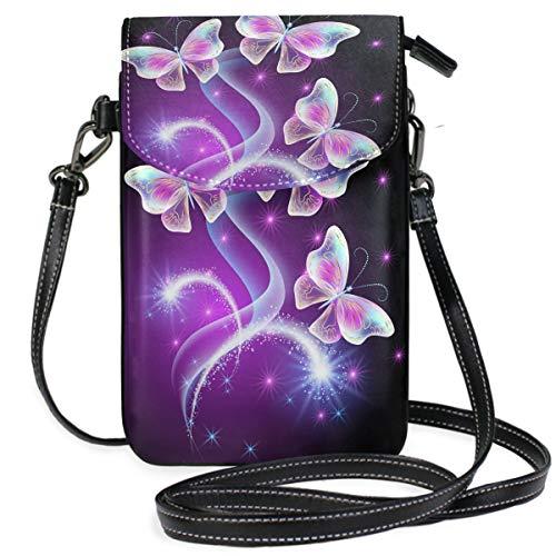 ZZKKO Schmetterlings-Mini-Umhängetasche, Handtasche, Leder, für Damen, für den Alltag, Reisen, Wandern, Camping -