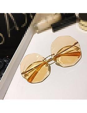 LXKMTYJ Gafas De Sol Sin Cerco Cuadro Sobredimensionado La Personalidad Femenina Poligonal Gafas, Rodajas De Naranja