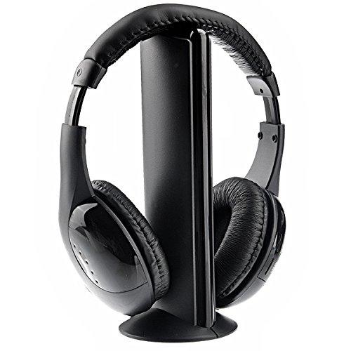 SUPVOX Hochwertige 5-in-1-Funkkopfhörer Drahtlose Over-Ear-Kopfhörer mit FM-Radio Drahtlose Überwachung für TV/PC / MP3 / CD/DVD (Schwarz) Cd Mp3 Tv