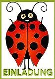 Einladungskarten Kindergeburtstag Kinder Mädchen und Junge mit Innentext Motiv Käfer 12 Karten im Postkartenformat DIN A6 mit Umschlägen Einladung Geburtstag Kinder (K05)