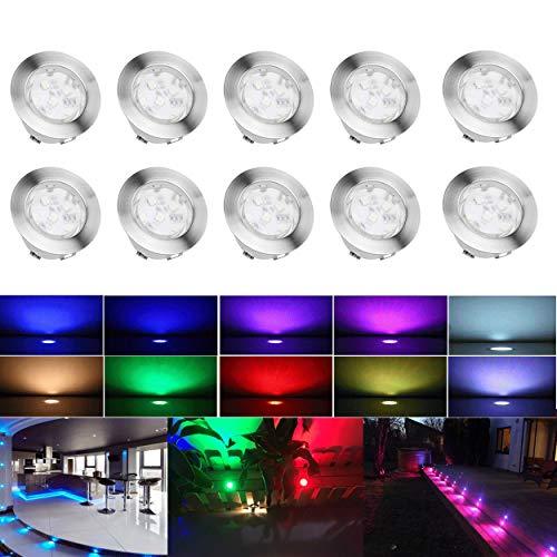 Spot Encastrable LED pour Terrasse,Mini Spot Encastré en DC12V IP67 Etanche Ø60mm Acier Inoxydable Exterieur luminaire,Eclairage pour Jardin,Couloir (RGB, 10 KIT)