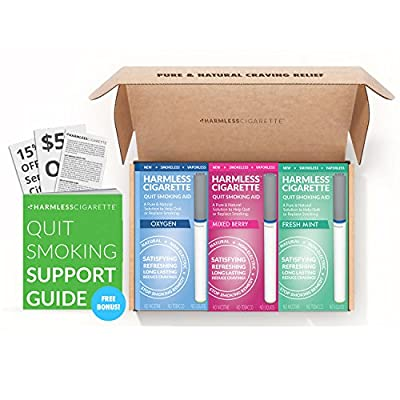 Fast & Easy Way To Help You Stop Smoking / New Harmless Cigarette Quit Kit / Works Perfect Together With Nicotine Patches, Nicotine Gum, Nicotine Lozenges, Smoking Cessation Medication from Harmless Products Co.