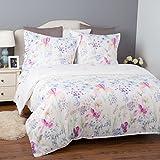 Bettwäsche Blumen 155x220cm Weiß Bettbezug mit Blumenmuster Blühen, 3-teilig Bettwäsche Set (1 Bettbezug mit Reißverschluss & Eckbändchen + 2 Kissenbezüge 80x80cm), Super Weiche Atmungsaktive Hypoallergen Mikrofaser Bettwäsche Garnitur von Bedsure