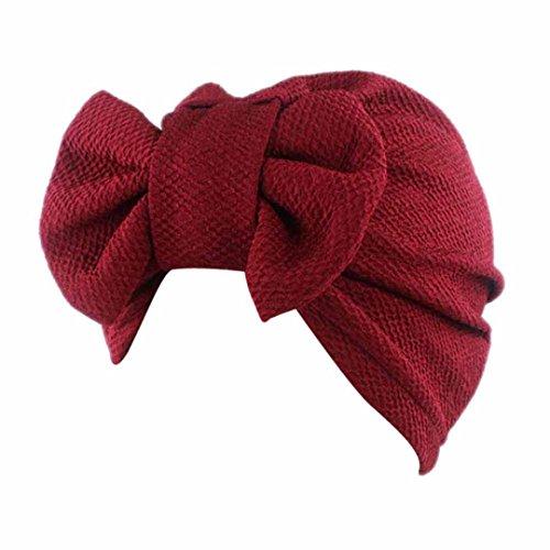 Traditionelle Baseball (Cap Transer® Damen Mode Schön Hüte Make-up Baumwolle+Nylon Turban Hut Wrap Wassermelone Rot Gelb Rosa Pink Lila Khaki Beige Hijib Einfarbig Mützen mit Groß Bowknot (Rot))