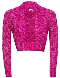 Home of Fashion Metallic Lurex Soft Knitted Long Sleeve Cropped Shrug Bolero - Various Colours