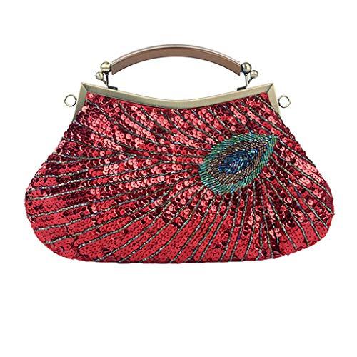 Floridivy Vintage Peacoock Perlenstickerei Hand Abendessen Weding Party-Kupplungs-Geldbeutel Bead Embriodered Bag Dinnerparty Handgemachte Abend Umhängetasche -
