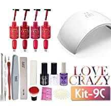 LoveCrazy 4pcs Kit De Colores 1- 4 Esmaltes en Gel Manicura Semipermanente + TopCoat y