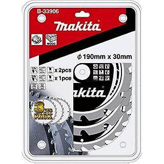 Aparoli Makita Mak-Force B-33906 Circular Saw Blade Set 3-Piece 190 mm for Battery-Powered Hand Circular Saws
