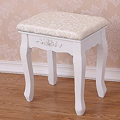 White Vintage Retro Style Dressing Table Stool Soft Padded Comfortable Sponge \ Furniture Home House Cabinet Desk Shelf Stand Dresser Seat Dining Living Room Chairs Table Contemporary Stylish Unique Ottoman Stuff Parents Kids Outdoor Indoor Sleeping Besid