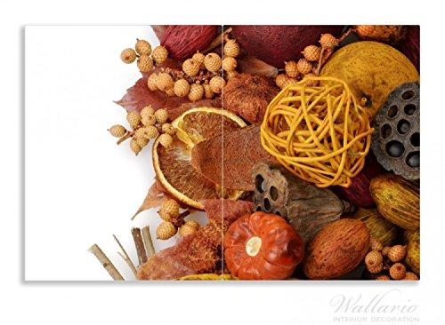 Wallario Herdabdeckplatte / Spritzschutz aus Glas, 2-teilig, 80x52cm, für Ceran- und Induktionsherde, Motiv Herbststimmung - Trockenfrüchte, Nüsse und Samen - Herbstdeko