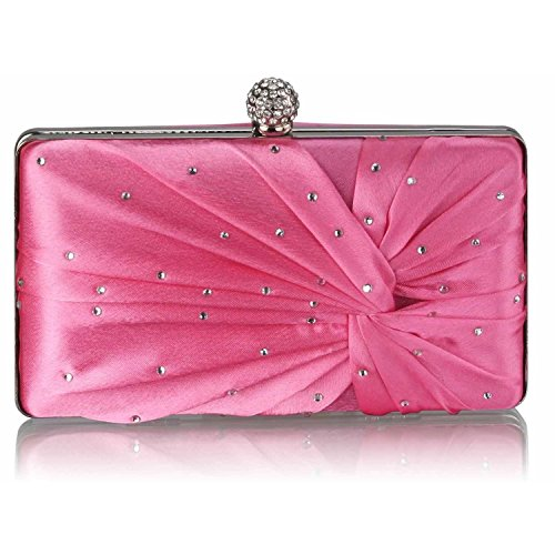 L And S Handbags Satin Crystal Clasp Evening Clutch Bag, Poschette giorno donna Pink