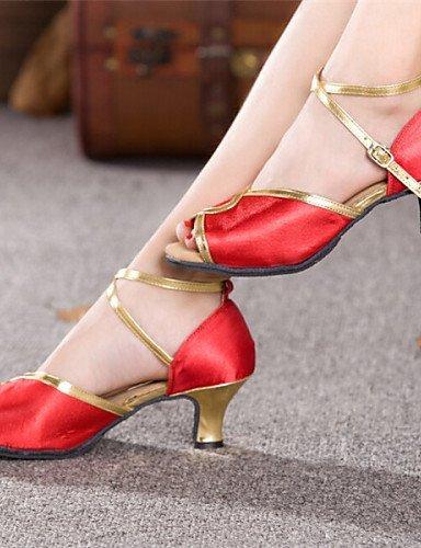 shangyi pas personnalisables–talon compensé–femme–satin–Latin Rouge - rouge