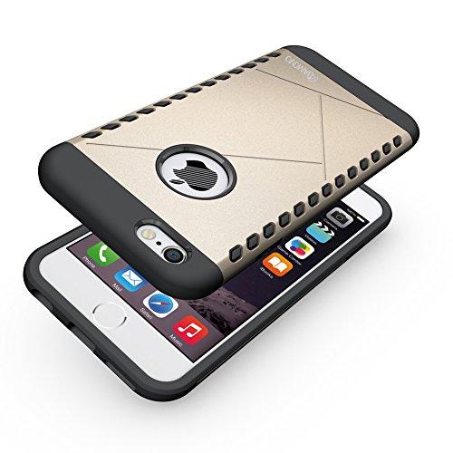 amovo iPhone 6S Plus Fall, iPhone 6Plus Case [Dual Layer] [Hybrid Defender] Apple iPhone 6S Plus/iPhone 6Plus Schutzhülle mit HD Displayschutzfolie iPhone 6S Plus Telefon Fall, plastik, schwarz, iPh Gold