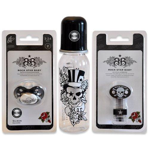 Baby Geschenk-Set Rock Star Baby Pirat handverpackt mit RSB Schnuller sowie Trinkflasche und Schnullerband