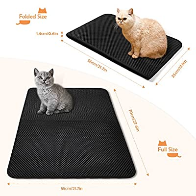 LOETAD Cat Litter Mat, Cat Feeding Mat Waterproof Foldable Double Layer Honeycomb Design in 70 x 55 cm