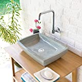 wohnfreuden Sandstein Aufsatz-Waschbecken MARA 50x35x12 cm  grau rechteckig poliert Bad Gäste WC  Handwaschbecken Waschschale Aufsatzwaschbecken für Bad Gäste WC