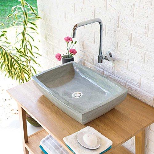 wohnfreuden Sandstein Aufsatz-Waschbecken MARA 50x35x12 cm ✓ grau rechteckig poliert Bad Gäste WC ✓ Handwaschbecken Waschschale Aufsatzwaschbecken für Bad Gäste WC