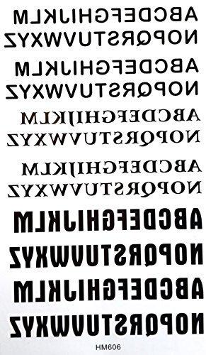 GRASHINE wasserdichte rutsch tonix gefälschte und realistische temporäre Tattoos Sticker 26 Englisch Buchstaben mit anderen Schriftart