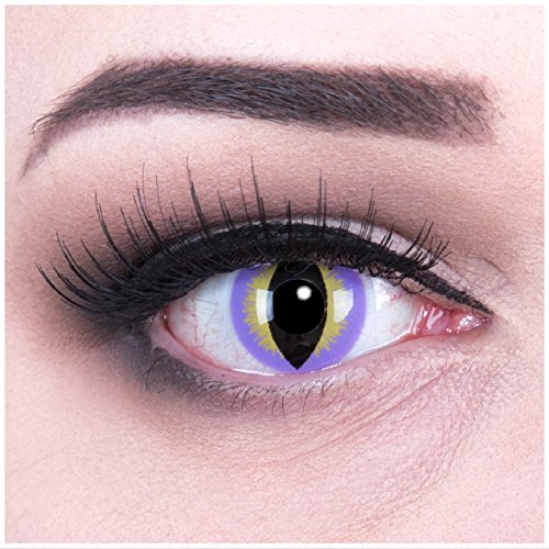 Funnylens 1 Paar farbige violette gelbe purple dragon Jahres Kontaktlinsen mit gratis Linsenbehälter und Verdrehschutz. Perfekt für Fasching, Karneval, Halloween.