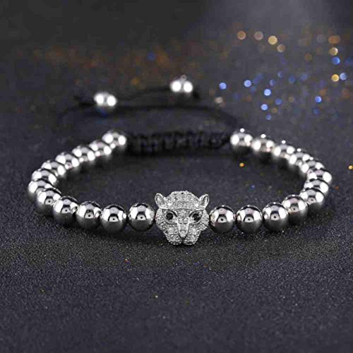 Imagen de jyhw venta superior cuentas pulseras para hombres cabeza de leopardo micro pave circón cúbico cuentas briading macrame pulsera feminina!,2
