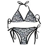 3D Flower Print Rugby Vector Custom Sexy Beach Swimwear Women's Triangle Bralette Bikini Set of 2