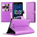 Cadorabo Hülle für WIKO Fever 4G - Hülle in Mangan VIOLETT – Handyhülle mit Kartenfach und Standfunktion - Case Cover Schutzhülle Etui Tasche Book Klapp Style