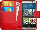 GizzmoHeaven HTC One M9 Leder Klappetui Schutzhülle Tasche mit Karte Halter Case Cover Etui Hülle für HTC One M9 mit Displayschutzfolie und Stylus-Stift - Rot