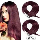 Tape in Extensions Echthaar Haarverlängerung Klebeband Haarteil 100% Remy Human Haar (40 stück+10pcs free tapes) Weinrot#99J 20'(50cm)